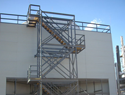 Pultruded FRP stair tower with 304 S.S. hardware. These stair towers are in accordance with the 2017 new OSHA requirements.